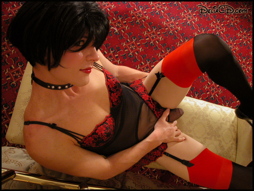 crossdresser in sheer black panties & teddy with red lace and stockings